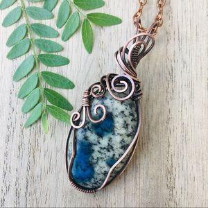 Natural jasper copper wire wrap pendant necklace